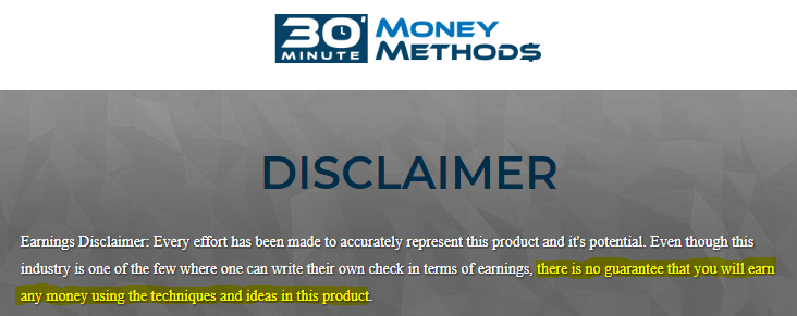 is 30 minute money methods a scam