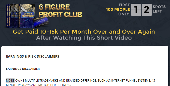 is 6 figure profit club a scam