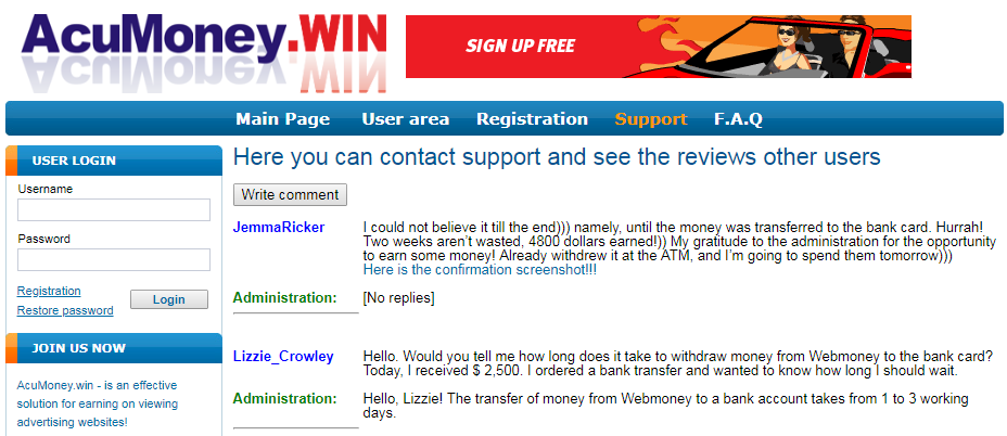 AcuMoney.win and AwyMoney.bid scam