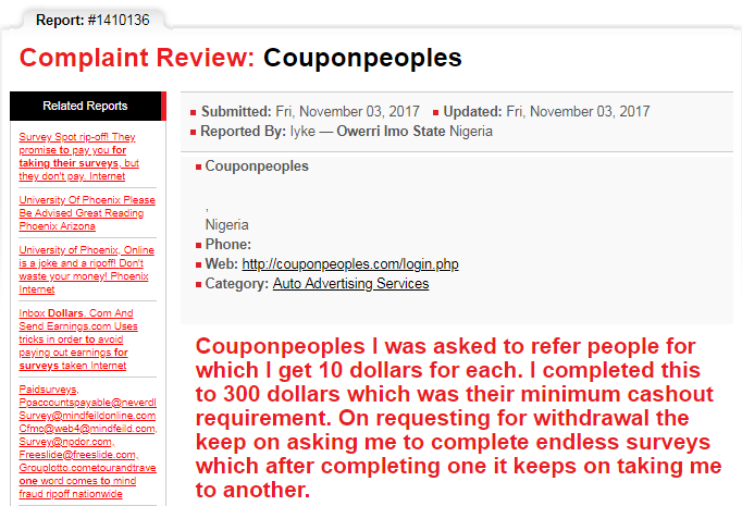 CouponPeoples.com and GreatJob.online scam