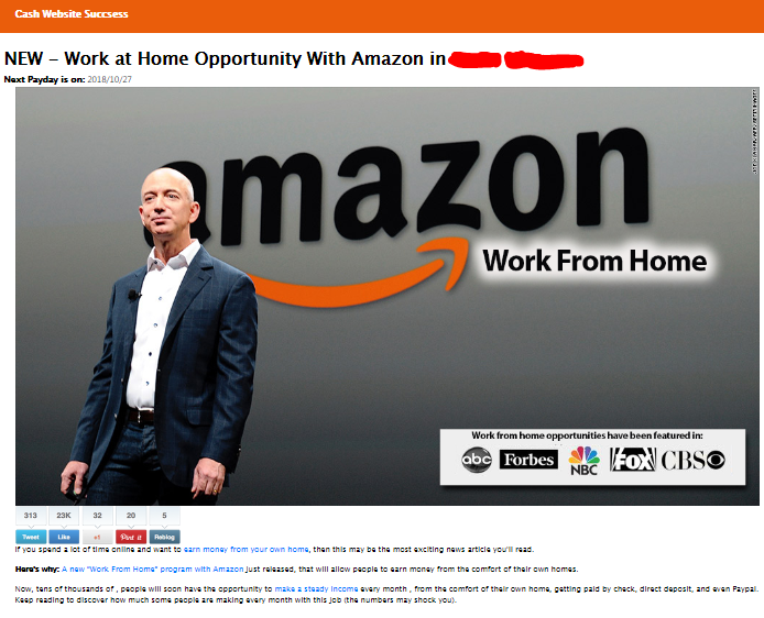 Amazon Wealth scam cash website success page