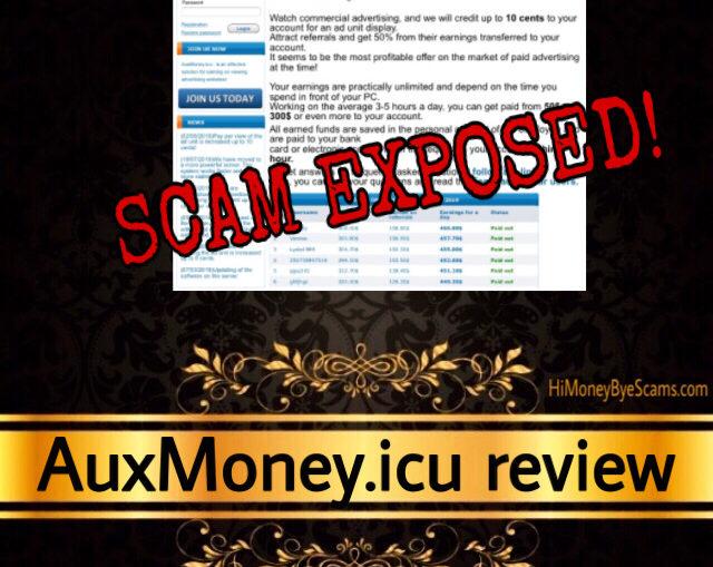 AuxMoney.icu scam review