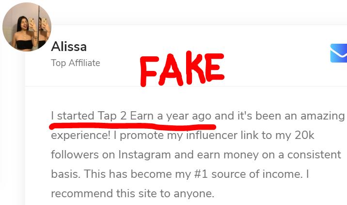 Fake Tap2Earn testimonial