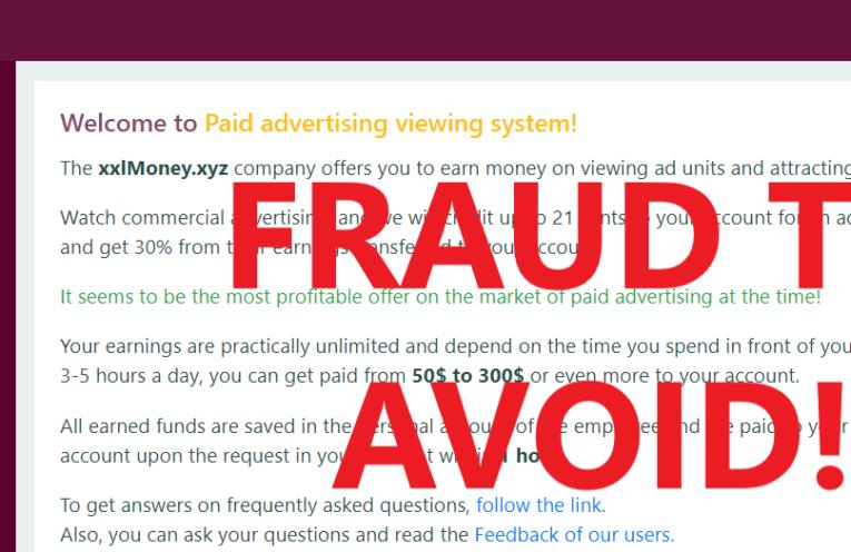 XxlMoney.xyz review scam