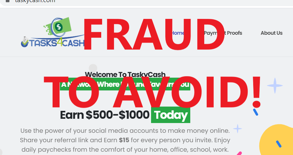 TaskyCash review scam