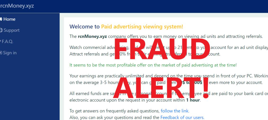 RcnMoney.xyz review scam