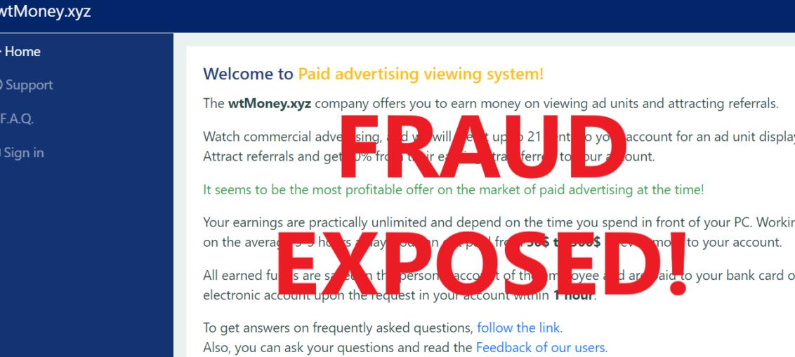WtMoney.xyz review scam