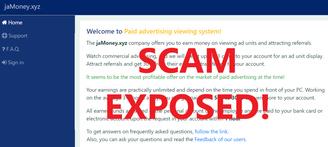 JaMoney.xyz review scam