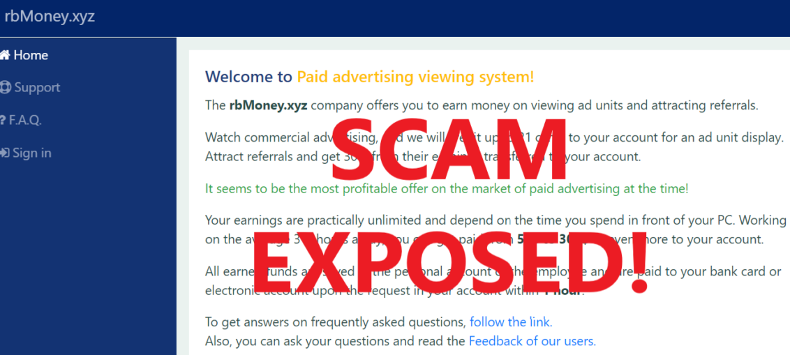 RbMoney.xyz review scam