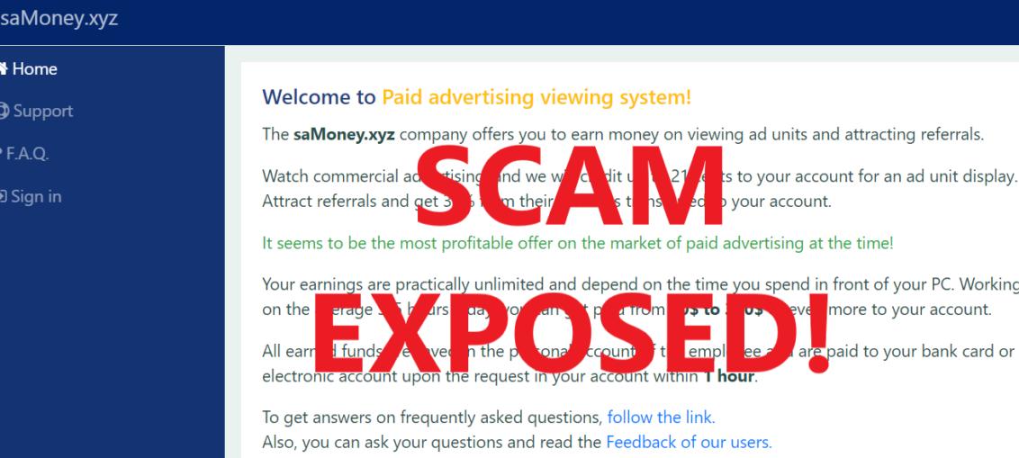 SaMoney.xyz review scam